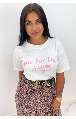 WHITE PINK - 'DIE FOR DIOR' - PREMIUM QUALITY OVERSIZED INSPIRED TEE