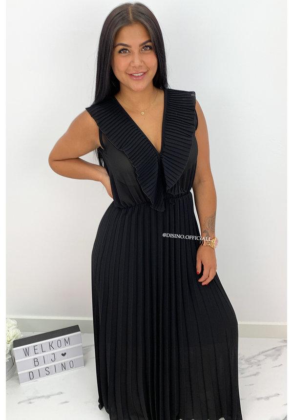 BLACK - 'MELODY' - PLISSE ELEGANT MAXI DRESS