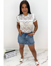 WHITE - 'MAIKE' - ALL OVER LACE SHORT SLEEVE TOP