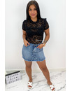 BLACK - 'MAIKE' - ALL OVER LACE SHORT SLEEVE TOP