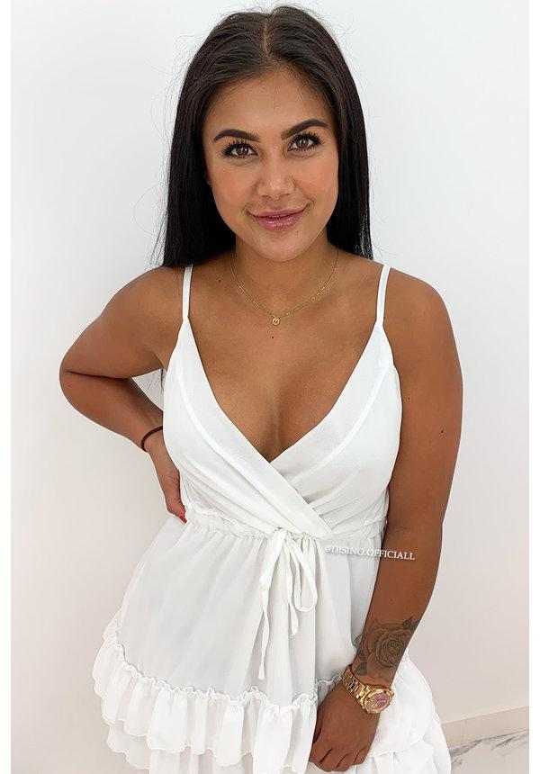 WHITE - 'SANNE' - SPAGHETTI BAND LAYERED RUFFLE DRESS