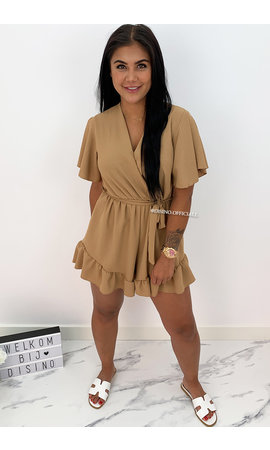 CAMEL - 'STACEY' - CUTE RUFFLE PLAYSUIT