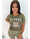 KHAKI GREEN - 'FUNKY TIGERS' - INSPIRED TEE