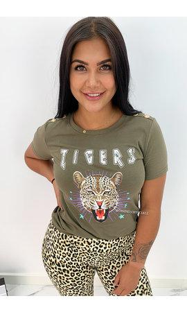 KHAKI GREEN - 'FUNKY TIGERS' - INSPIRED TEE