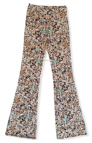 YELLOW - 'MARIE' - ALL OVER FLORAL FLARED PANTS