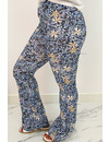 BLUE - 'MARIE' - ALL OVER FLORAL FLARED PANTS