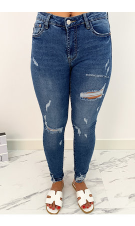 QUEEN HEARTS JEANS - BLUE - HIGH WAIST SKINNY DESTROYED - 692