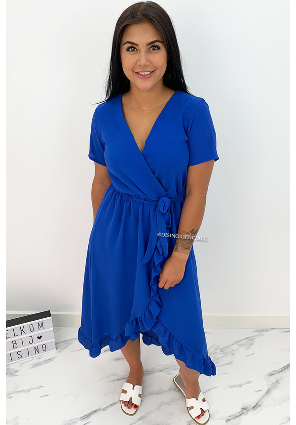 ROYAL BLUE - 'LAGERA V2' - BASIC RUFFLE MAXI DRESS