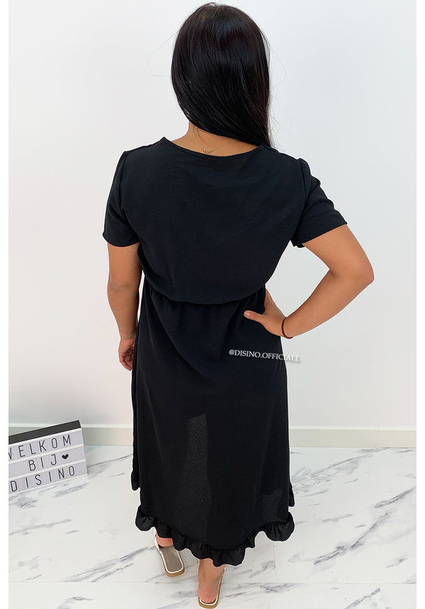 BLACK - 'LAGERA V2' - BASIC RUFFLE MAXI DRESS