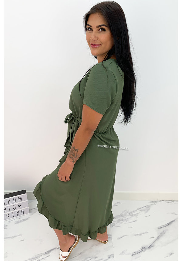 KHAKI GREEN - 'LAGERA V2' - BASIC RUFFLE MAXI DRESS