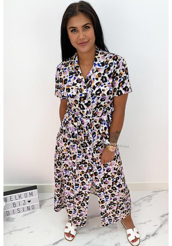 LILA - 'NAOMI' - COLORFULL LEO PRINT BLOUSE MAXI DRESS