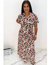 PINK - 'NAOMI' - COLORFULL LEO PRINT BLOUSE MAXI DRESS