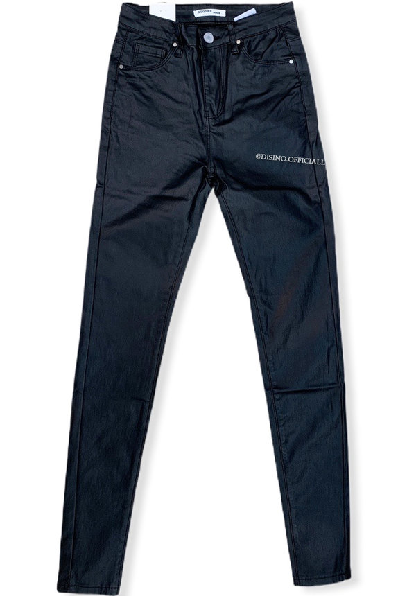 COATED BLACK - HIGH WAIST SKINNY COATED JEANS - 288