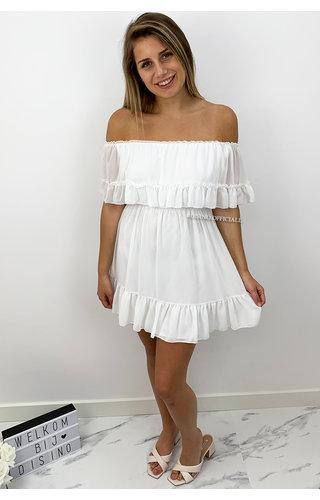 WHITE - 'CARMEN' - OFF SHOULDER RUFFLE DRESS