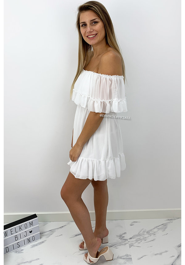 WHITE - 'CARMEN' - OFF SHOULDER RUFFLE DRESS