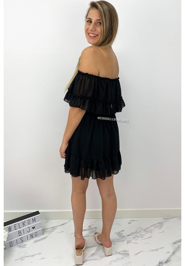 BLACK - 'CARMEN' - OFF SHOULDER RUFFLE DRESS