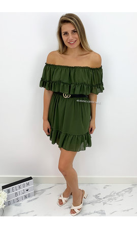 KHAKI GREEN - 'CARMEN' - OFF SHOULDER RUFFLE DRESS