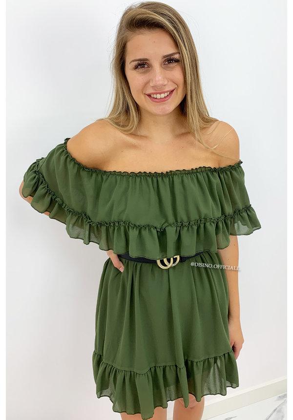 KHAKI GREEN - 'CARMEN' - OFF SHOULDER RUFFLE DRESS