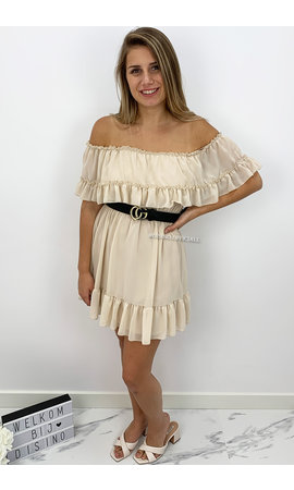 BEIGE - 'CARMEN' - OFF SHOULDER RUFFLE DRESS