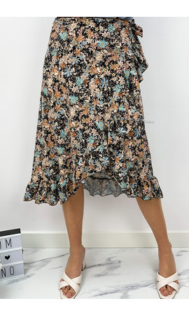 BLACK - 'MARIE WIKKEL ROK' - FLORAL ALL OVER WRAP ON MIDI RUFFLE SKIRT