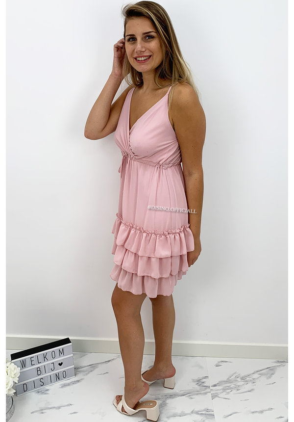 SOFT PINK - 'SANNE' - SPAGHETTI BAND LAYERED RUFFLE DRESS