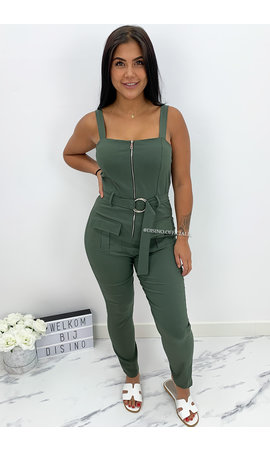ARMY GREEN - 'STORMZY LONG' - SUPER STRETCH CARGO JUMPSUIT