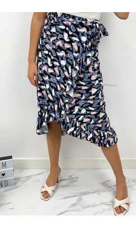 BLUE -  'CATHY WIKKEL ROK' - LEOPARD DOTTED WRAP ON MIDI SKIRT