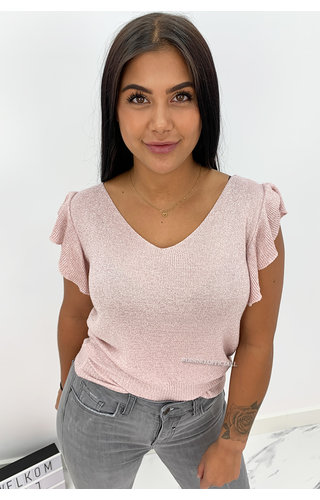 PINK - 'OLIVIA' - SOFT TOUCH SPARKLE RUFFLE TOP