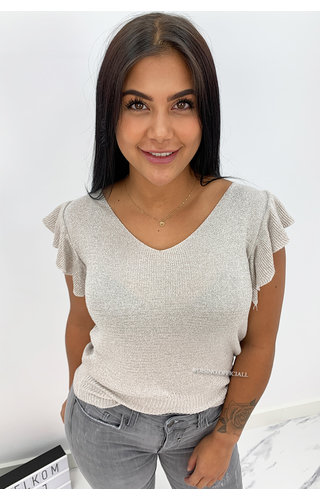 BEIGE - 'OLIVIA' - SOFT TOUCH SPARKLE RUFFLE TOP