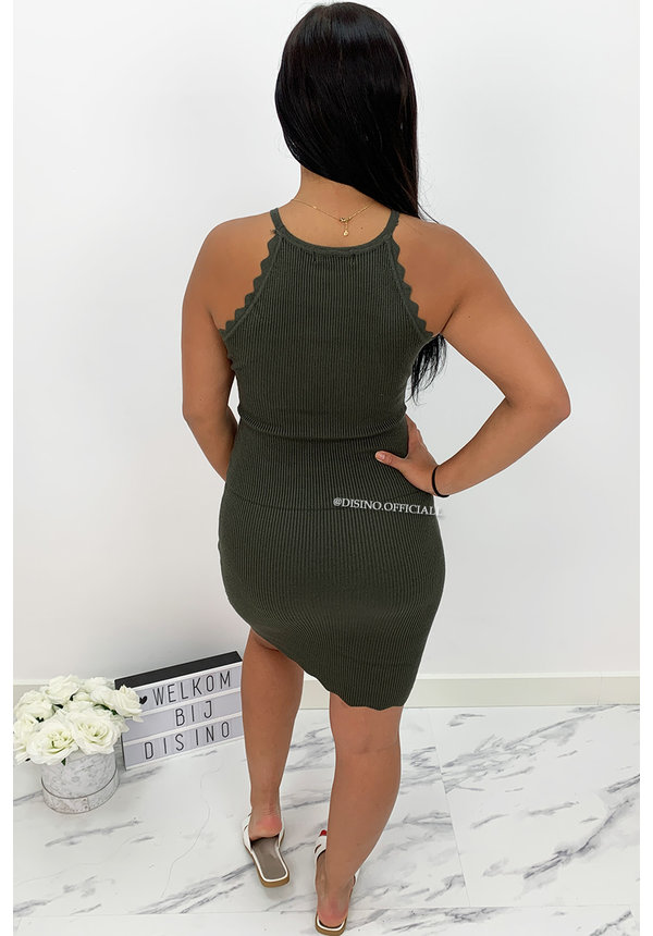 KHAKI GREEN - 'KATE DRESS' - RIBBED SCALLOP HALTER MIDI DRESS