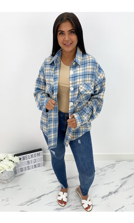 BLUE - 'CARESSA' - CHECKED OVERSIZED BLOUSE JACK