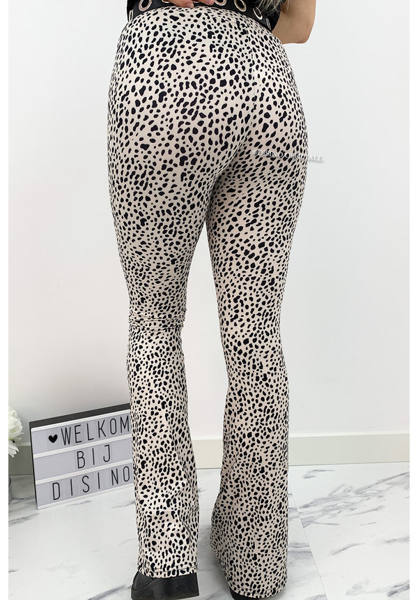 OFF WHITE - 'ELINE' - SOFT TOUCH LEOPARD FLARED PANTS