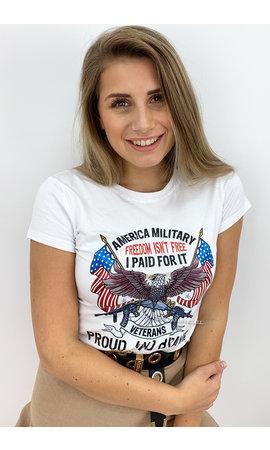 WHITE - 'AMERICA MILITARY' - EAGLE TEE