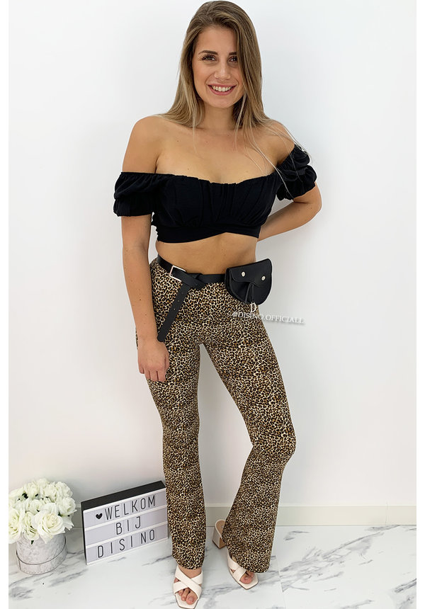 CAMEL - 'PHOEBE' - SOFT TOUCH LEOPARD FLARED PANTS