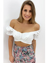 WHITE - 'AYSHA' - OFF SHOULDER CROP TOP