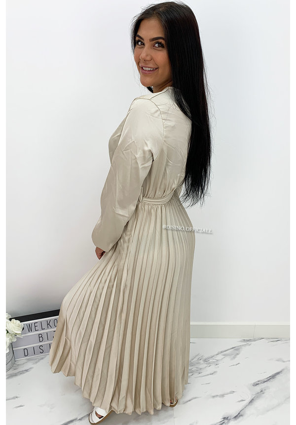 BEIGE - 'JASMINE' - SATIN LONG SLEEVE PLISSE MAXI DRESS