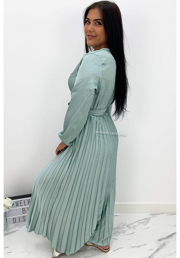 MINT GREEN - 'JASMINE' - SATIN LONG SLEEVE PLISSE MAXI DRESS