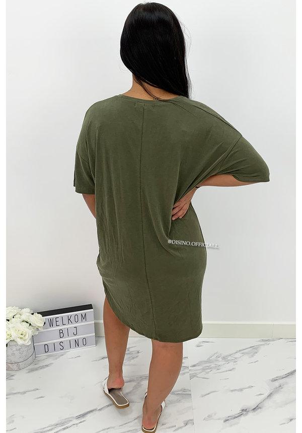 KHAKI GREEN - 'RIKKIE' - PREMIUM QUALITY OVERSIZED BASIC TEE DRESS