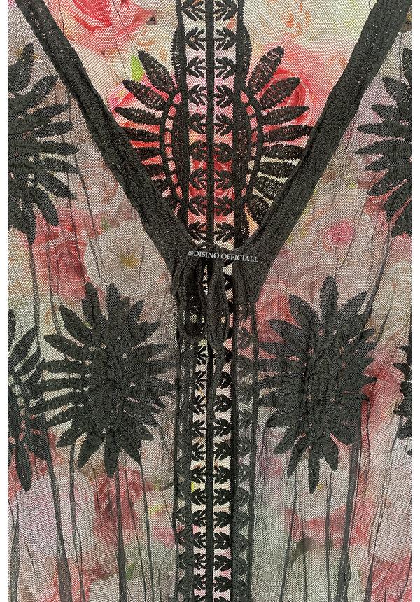 BLACK - 'STELLA MANDALA' - LACE BEACH KIMONO LONG
