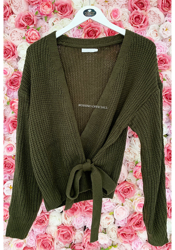 ARMY GREEN - 'COZY' - KNITTED WIKKEL VEST