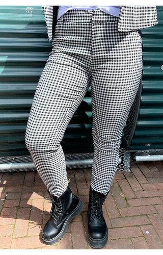 BLACK - 'RAQUEL PANTS' - PREMIUM QUALITY CHECKED PANTS