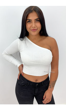 WHITE - 'SHANNA' - ONE SHOULDER RIBBED TOP
