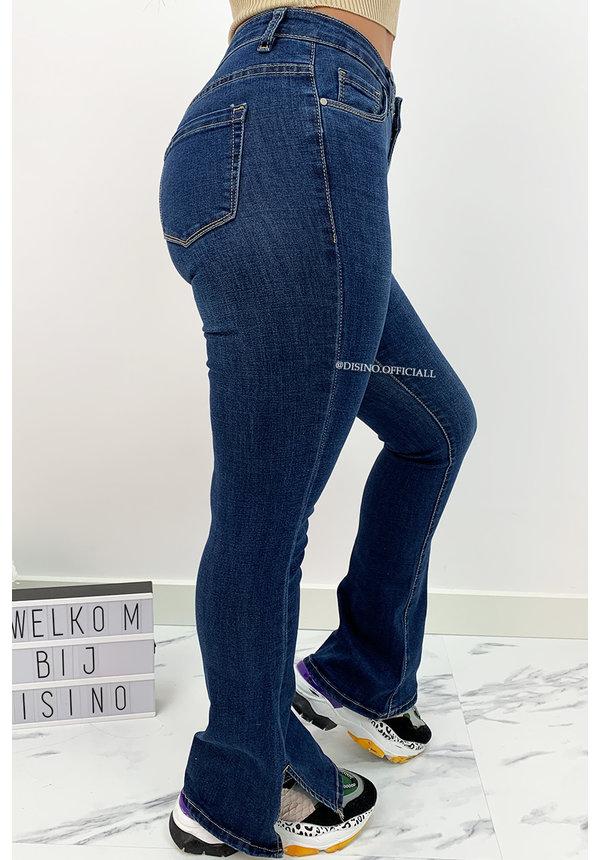 DARK BLUE - 'BILLIE SPLIT' - SUPER STRETCH DENIM FLARED PANTS WITH SIDE SPLIT