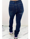 DARK BLUE - 'BILLIE' - SUPER STRETCH DENIM FLARED PANTS - 079
