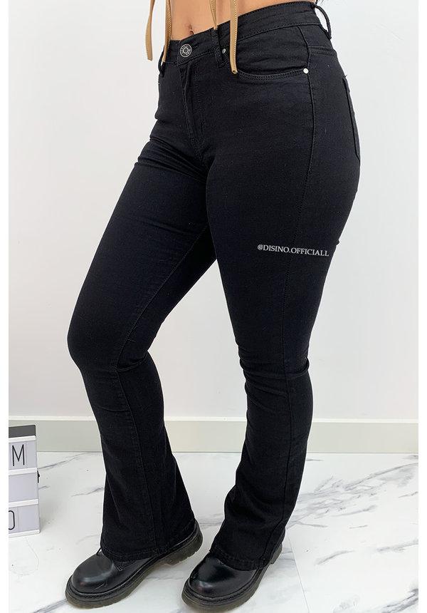 BLACK DENIM - 'BILLIE' - SUPER STRETCH DENIM FLARED PANTS - 079