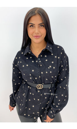 BLACK - 'DEMI STARS' - OVERSIZED CORDUROY BLOUSE STAR PRINTED