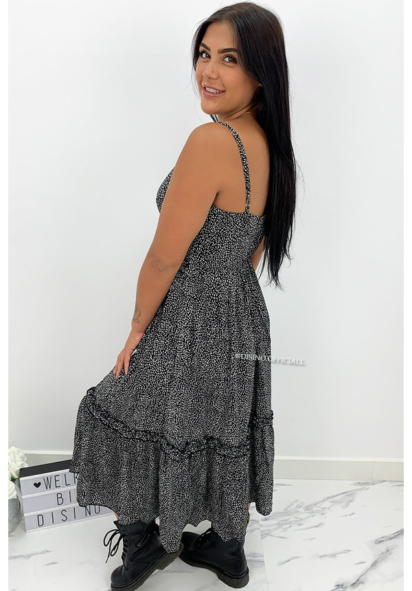 BLACK - 'LINDA' - LEOPARD PRINT V-NECK MAXI DRESS