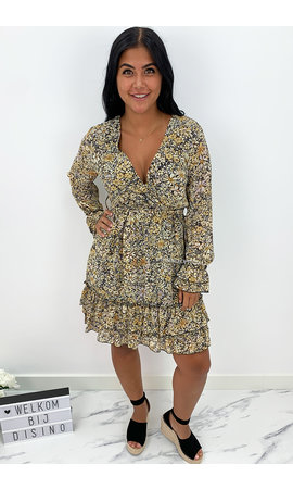 YELLOW - 'MARIE SHORT' - FLORAL INSPIRED RUFFLE LONG SLEEVE DRESS
