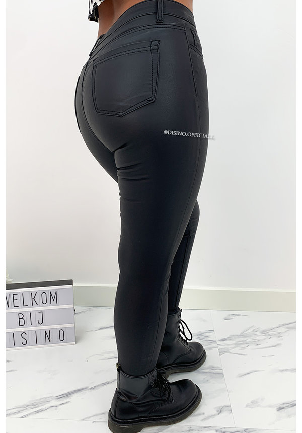 HELLO MISS - COATED BLACK - HIGH WAIST SKINNY JEANS - 007