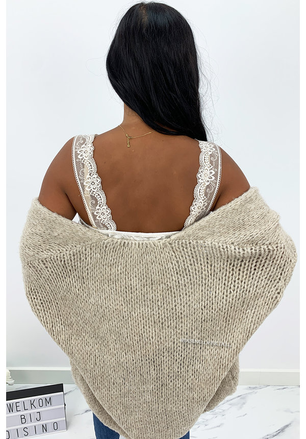 SAND - 'ADRIANA' - COZY KNITTED BALLOON VEST